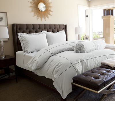 (Queen) Hotelier Prestigio™ 6-pc Bedding Set - Cliff Grey Base Black Embroidery - Image 1