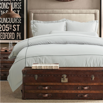 (Queen) Hotelier Prestigio™ 6-pc Bedding Set - Cliff Grey Base Black Embroidery - Image 2