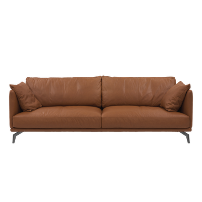 Como 3 Seater Sofa - Brown (Genuine Cowhide), Down Feathers - Image 1