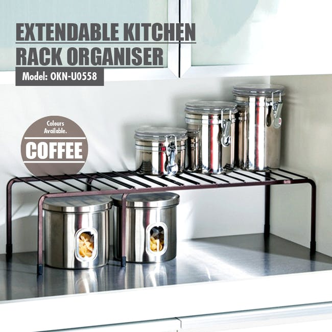 Extendable Steel Rack Organiser - Coffee - 4