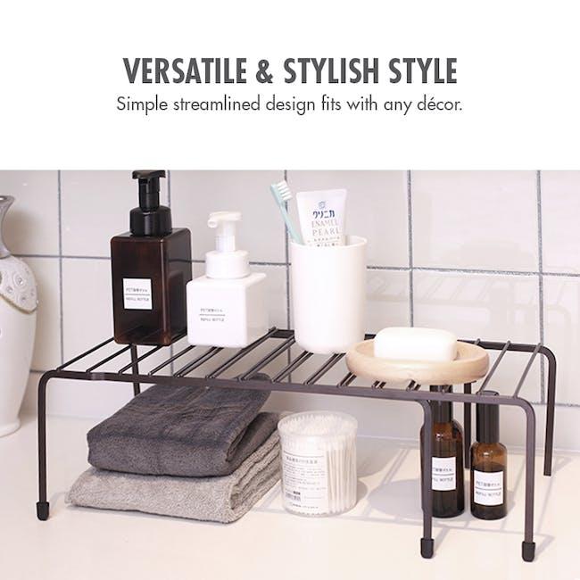 Extendable Steel Rack Organiser - Coffee - 1