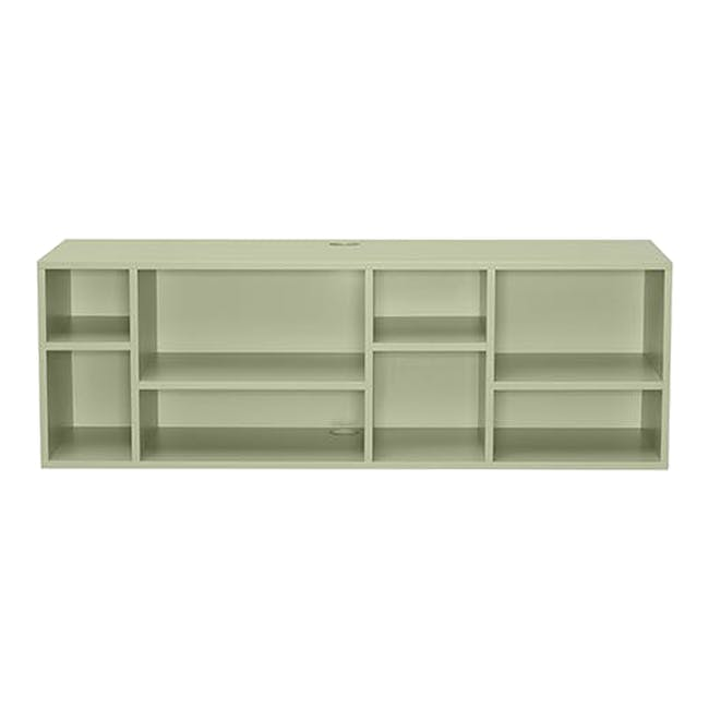 Liam Media Rack 1.2m in Dust Green with Innis Coffee Table in White - 4