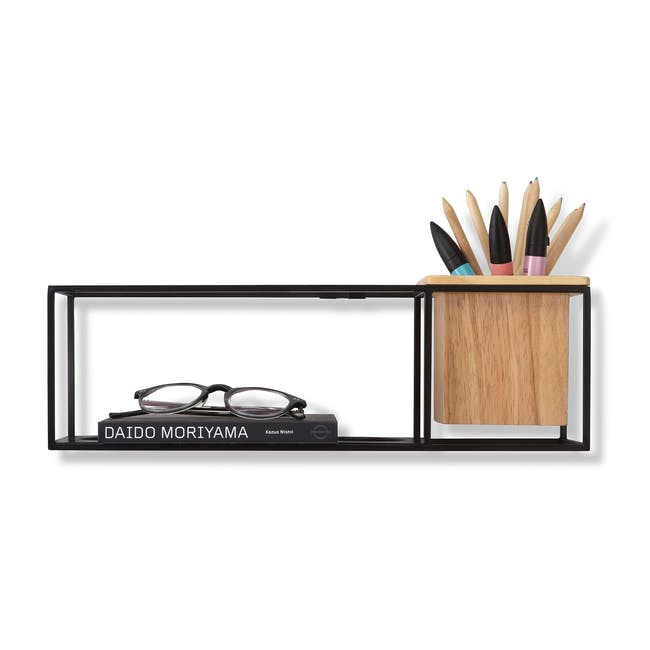 Cubist Small Wall Shelf - Natural, Black - 0