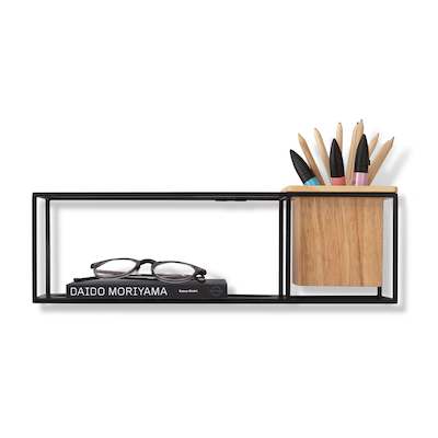 Cubist Small Wall Shelf - Natural, Black - Image 1