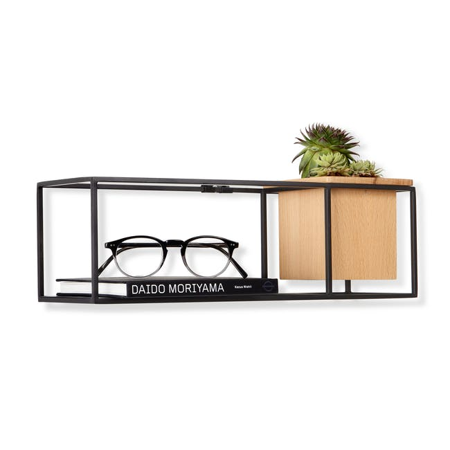 Cubist Small Wall Shelf - Natural, Black - 2