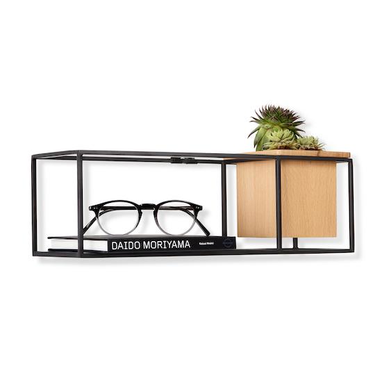 Cubist Small Wall Shelf Natural Black Umbra Hipvan