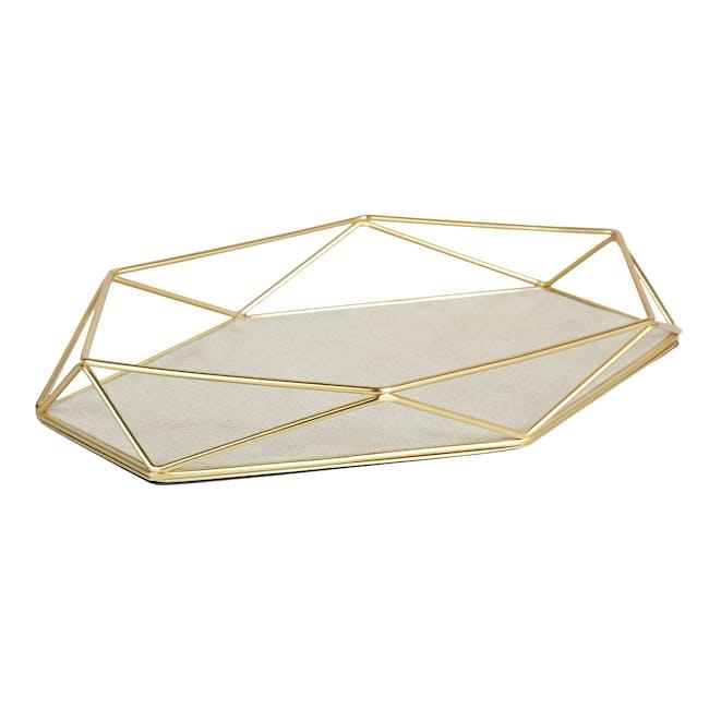 Prisma Jewelry Stand with Prisma Jewelry Tray - Brass - 9