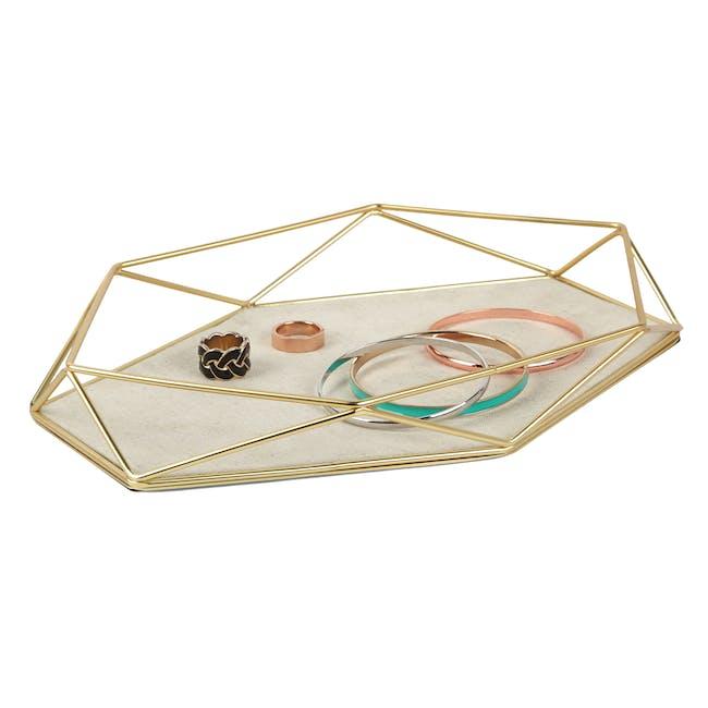 Prisma Jewelry Stand with Prisma Jewelry Tray - Brass - 10