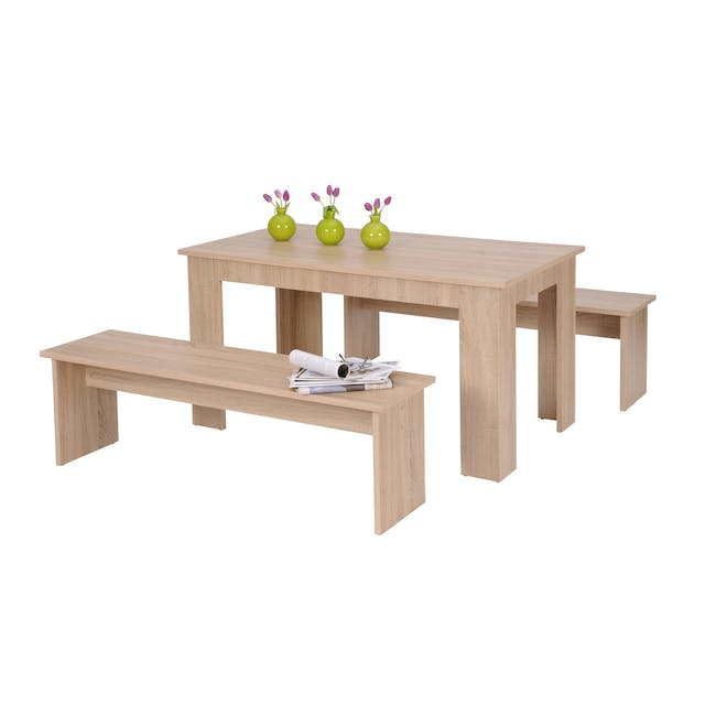 Mila Dining Set - 1.4m Table and 2 Benches - 2