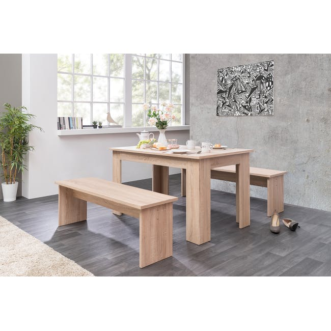 Mila Dining Set - 1.4m Table and 2 Benches - 1