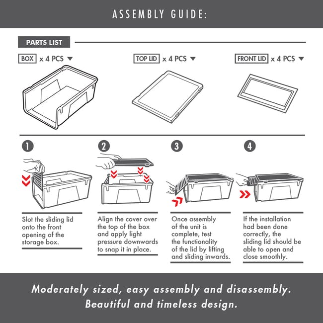 Men's Sliding Shoe Box - Clear (Pack of 4) - 11