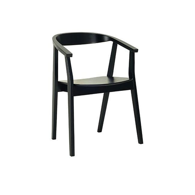 Tyrus Dining Table 2m with 4 Greta Chairs in Black and Natural - 3