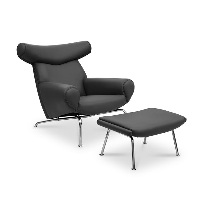 Ox Chair with Ottoman Replica - Black (Genuine Cowhide) - 0