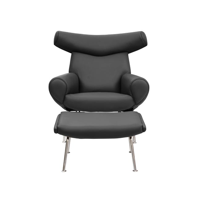 Ox Chair with Ottoman Replica - Black (Genuine Cowhide) - 1