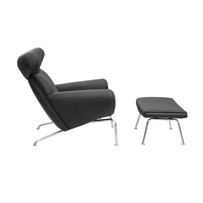 Ox Chair with Ottoman Replica - Black (Genuine Cowhide) - 2