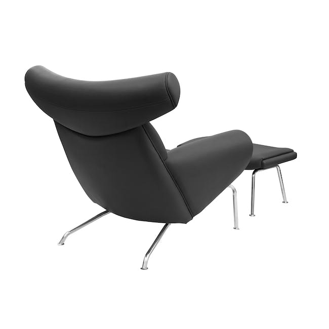 Ox Chair with Ottoman Replica - Black (Genuine Cowhide) - 3