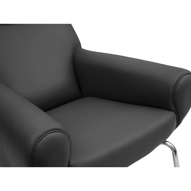 Ox Chair with Ottoman Replica - Black (Genuine Cowhide) - 4