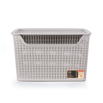 24L Weave Basket with Lid - Ice Grey - Image 2