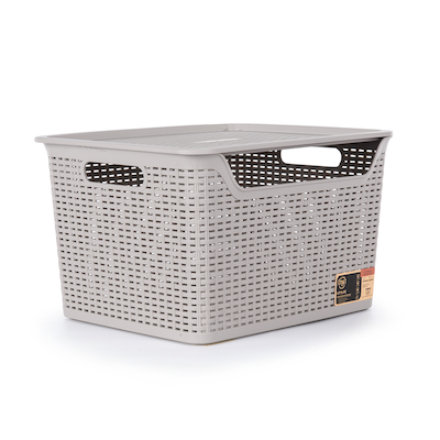 24L Weave Basket with Lid - Ice Grey - Image 1