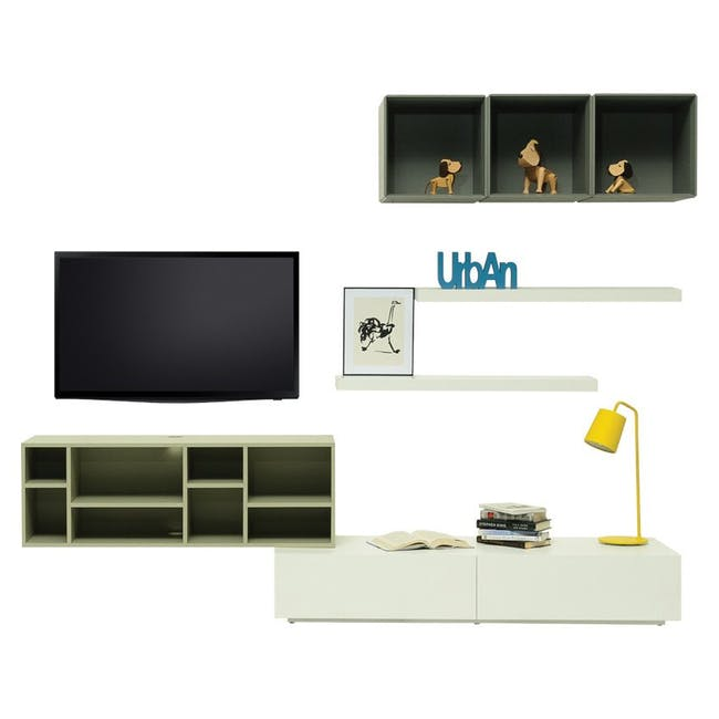 Liam Media Rack 1.2m in Dust Green with Innis Coffee Table in White - 2