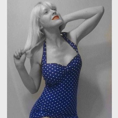 The Bella Polka Dot Swimsuit - Blue & White  - Image 1