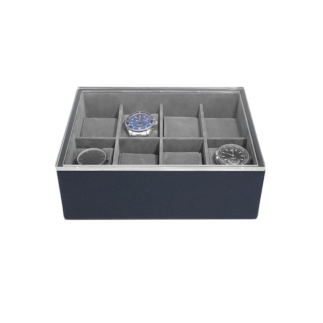 8-Piece Watch Box with Acrylic Lid - Navy Blue - 0