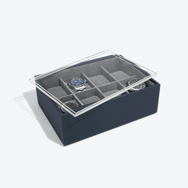 8-Piece Watch Box with Acrylic Lid - Navy Blue - 1