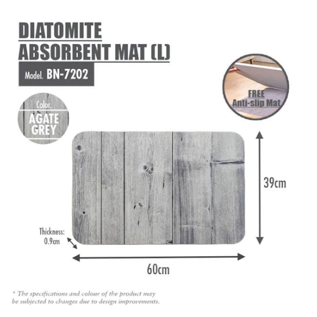 Slatted Wood Diatomite Mat  - Agate Grey - 3