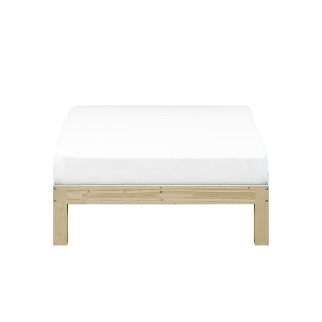 Katana Super Single Headboard Bed with 1 Bowen Bedside Table in Natural, White - 1