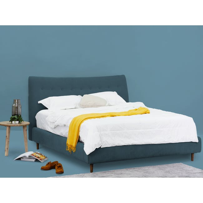 Ronan Queen Bed in Midnight with 2 Weston Bedside Tables - 2