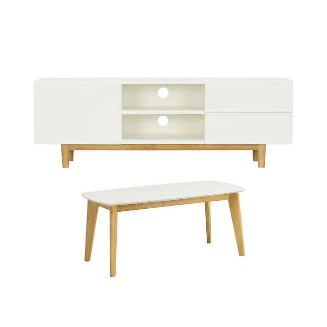 Aalto TV Cabinet 1.6m with Kyra High Coffee Table - White - 0