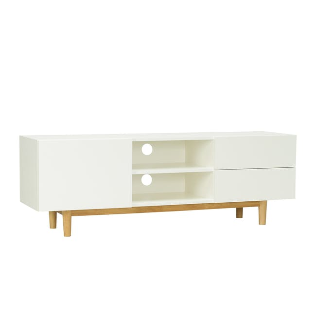 Aalto TV Cabinet 1.6m with Kyra High Coffee Table - White - 2