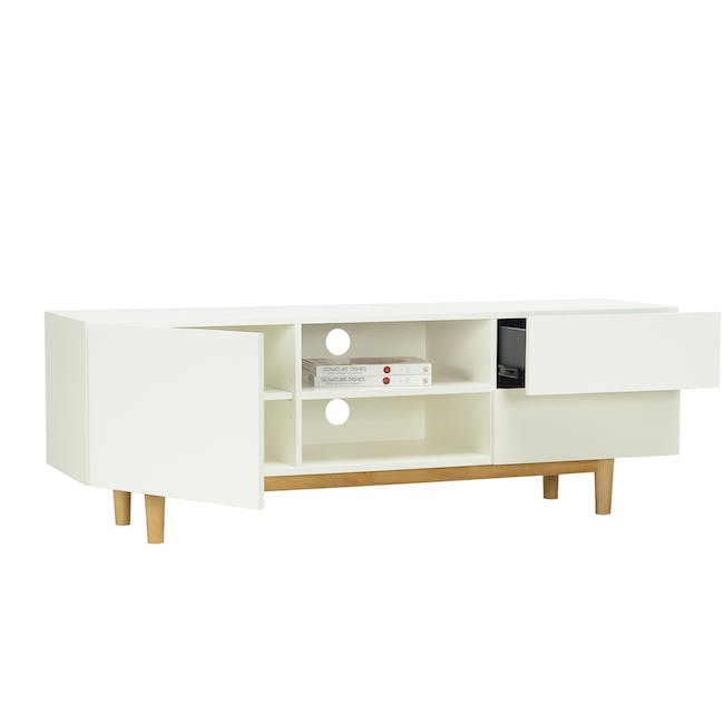 Aalto TV Cabinet 1.6m with Kyra High Coffee Table - White - 3