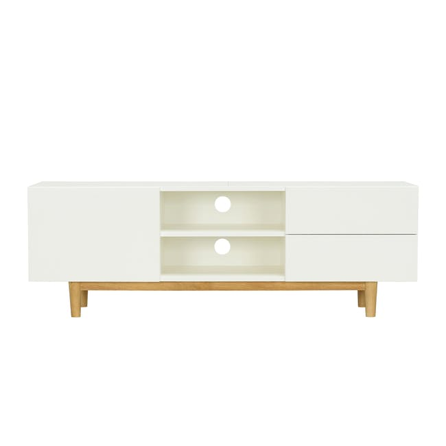 Aalto TV Cabinet 1.6m with Kyra High Coffee Table - White - 1