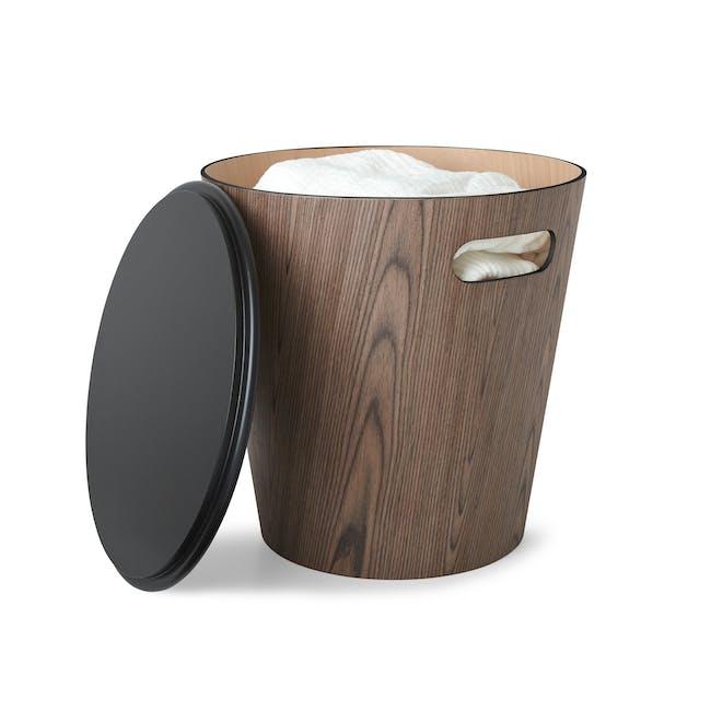 Woodrow Storage Stool - Black, Walnut - 0