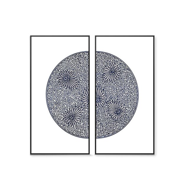 Modern Chinese Medallion Art Print on Stretched Canvas with Black Frame 50cm x 100cm (Set of 2) - Floral Maze - 0