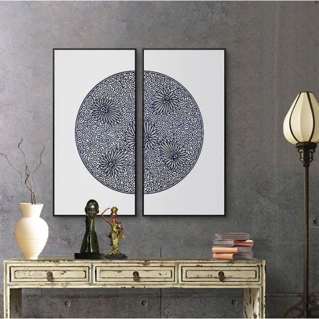 Modern Chinese Medallion Art Print on Stretched Canvas with Black Frame 50cm x 100cm (Set of 2) - Floral Maze - 1