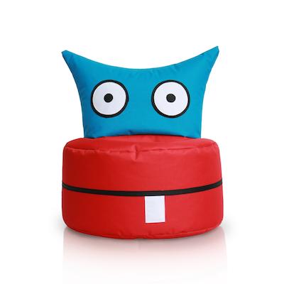 Happy Owl Bean Bag - Blue, Red