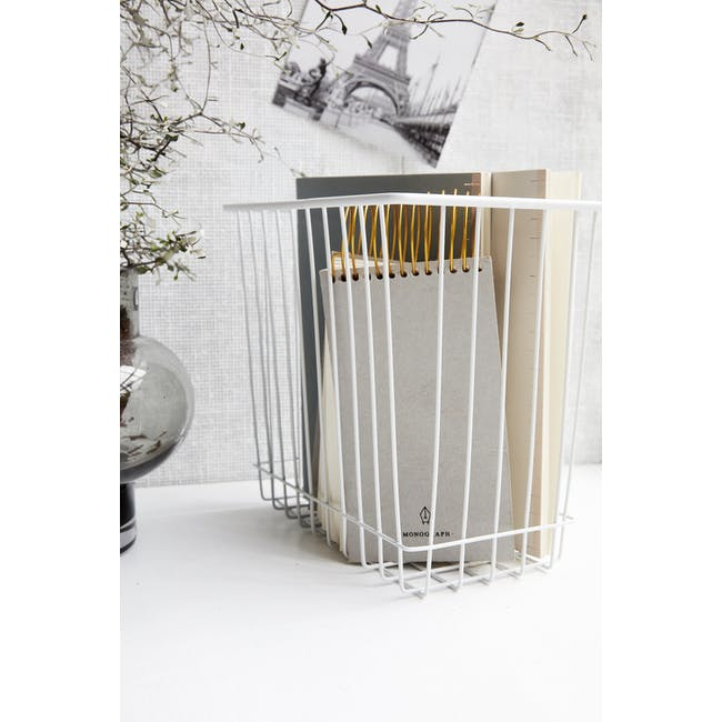 Stak Wire Basket - White - Rectangle - 1