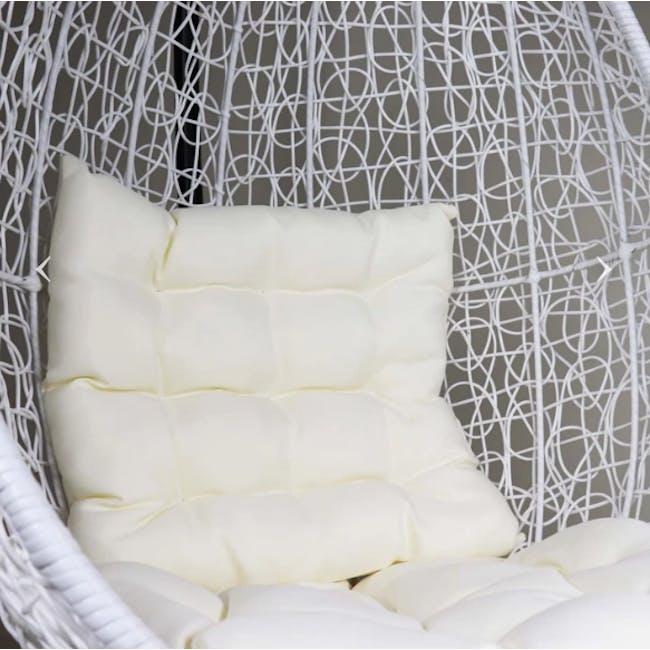 White Cocoon Swing Chair - Creamy White Cushion - 1