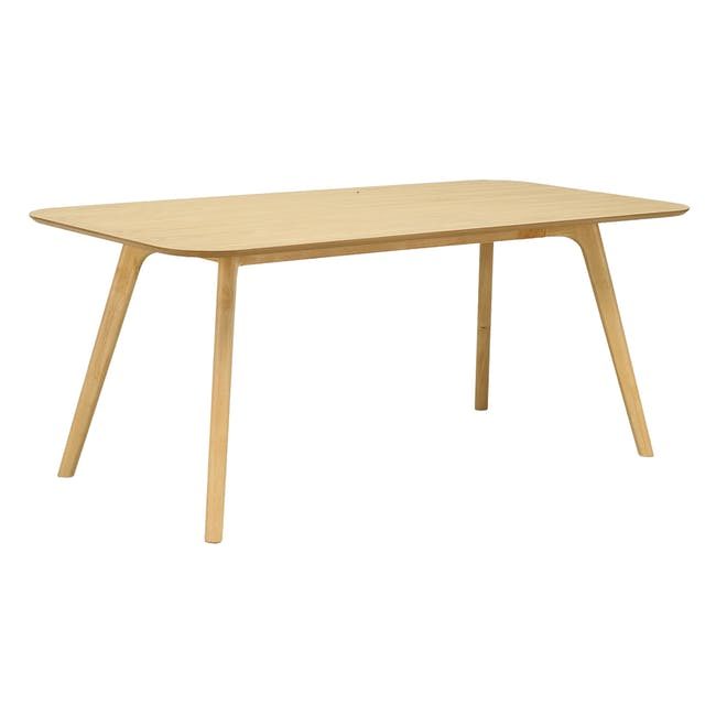 Roden Dining Table 1.8m in Natural with 4 Miranda Chairs in Sea Green and Pink - 5