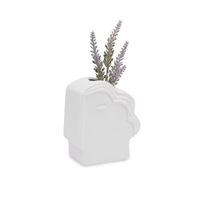 Abstract Gentlemen Head Porcelain Vase - White - 0