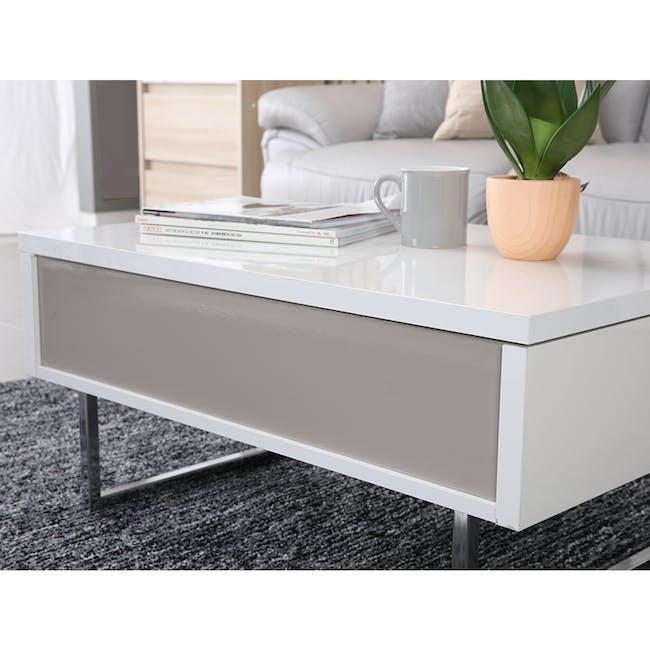 Piper Storage Coffee Table - Chrome, White - 7