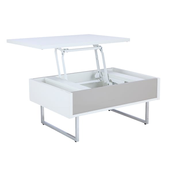 Piper Storage Coffee Table - Chrome, White - 11