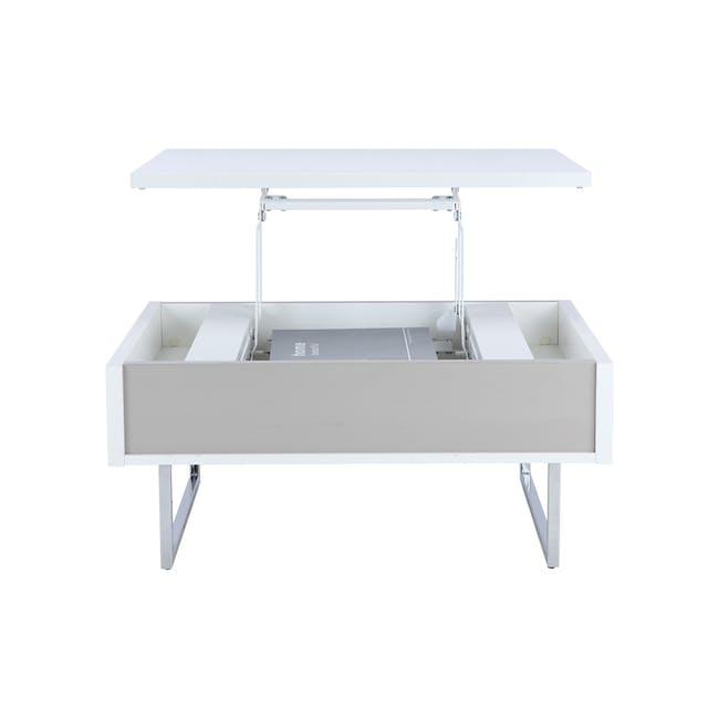Piper Storage Coffee Table - Chrome, White - 8
