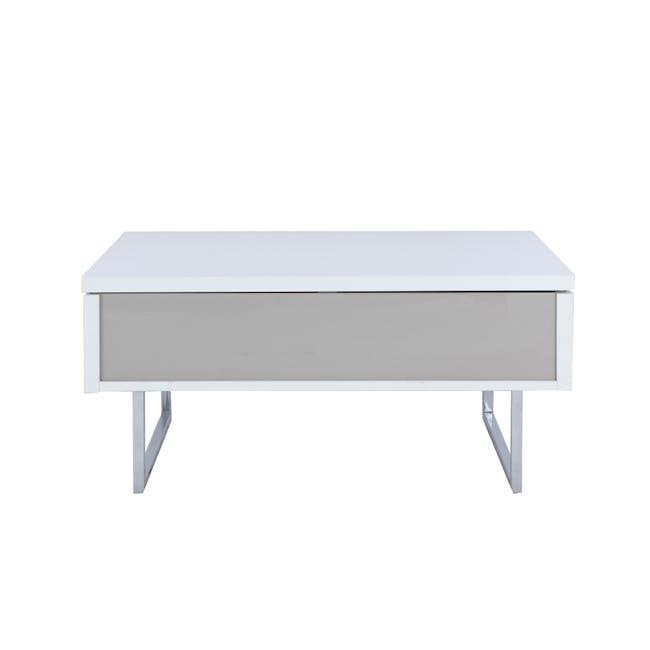 Piper Storage Coffee Table - Chrome, White - 0