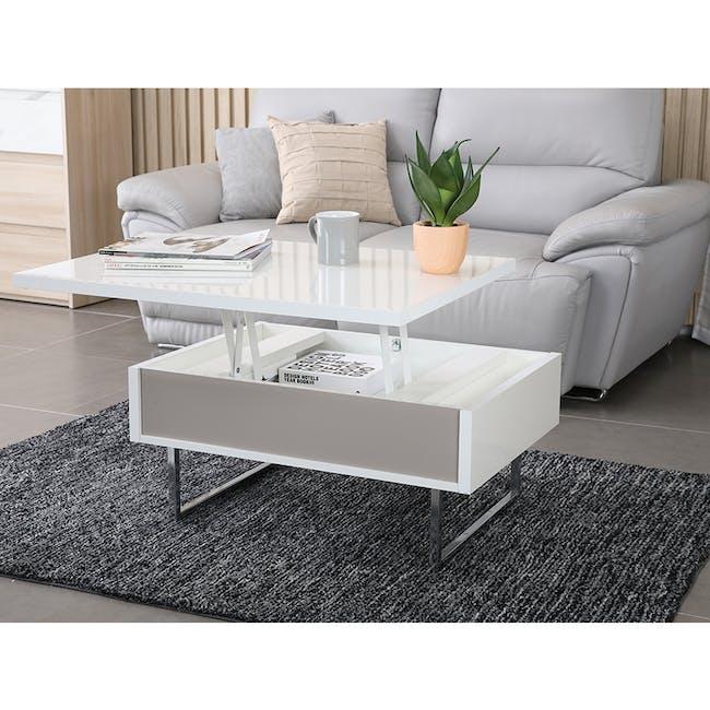 Piper Storage Coffee Table - Chrome, White - 1