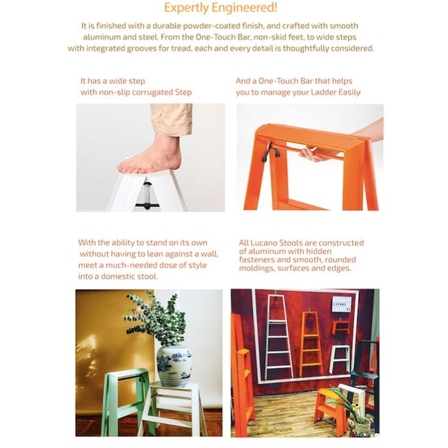 Hasegawa Lucano Aluminium 3 Step Ladder - White - 4