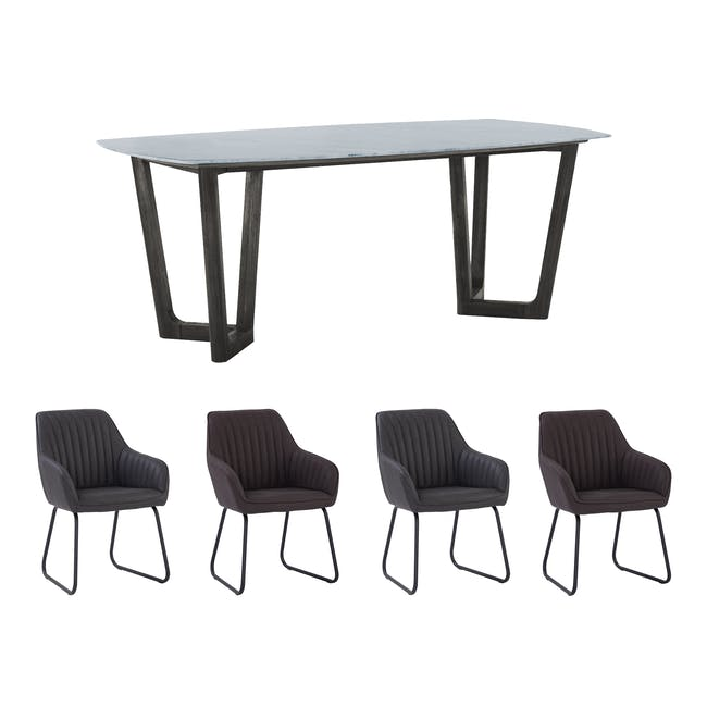 Carson Marble Dining Table 2m with 4 Edson Dining Armchairs - 0
