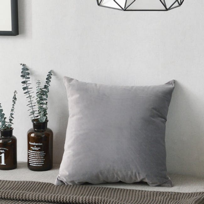 Tammy Large Velvet Cushion - Grey - 1